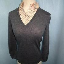 Tory Burch Gray Wool v Neck Sweater W/silk Dot Detachable Collar Xs Near Mint Photo