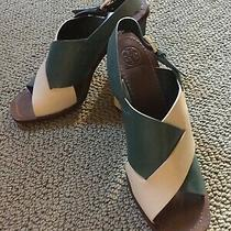 Tory Burch Green Tan Slingback Heels- Size 10 Photo