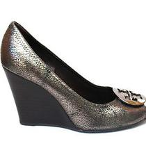 Tory Burch Gunmetal Silver  Ulianne Peep Toe Wedge Heel Sz 6 M Photo