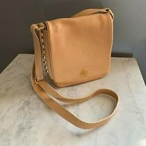 Tory Burch Handbag Crossbody Leather Purse Tan With Gold Studs  Photo