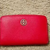Tory Burch Iphone Holder Wristlet Robinson Red Saffiano Wallet Clutch Photo