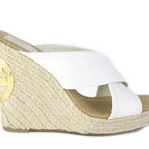 Tory Burch Ivory Canvas 'Kristen' Espadrille Wedges Photo