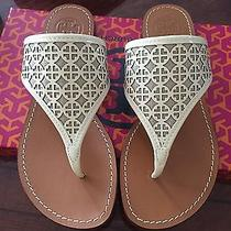 Tory Burch Ivory Natural White Amara Flat Thong Leather Sandals Size 7 295 Photo
