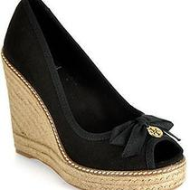 Tory Burch Jackie Espadrille Canvas Wedge in Black Aso Nina Dobrev 7 Nib Photo