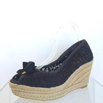 Tory Burch Jackie  Womens Shoes Size 8.5 B Lace Espadrille Wedge Black  Photo