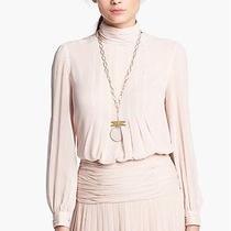 Tory Burch 'Jasmine' Pleated Silk Blouse Blush Sz. 14 Photo