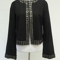 Tory Burch Jewel Trimmed Jacket Heather Black Size 4 Gently Worn Photo