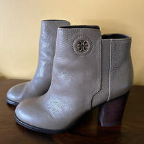 Tory Burch Junction Porcini Tumbled Leather Ankle Heel Bootie W/gold Logo Sz10m Photo