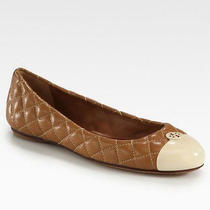Tory Burch Kaitlin Quilted Ballet Flat Royal Tan/poundcake Size 10 Photo