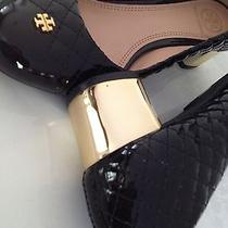 Tory Burch Kent Black Patent Leather Quilted Medium Gold Heel Logo Size 7 C Photo