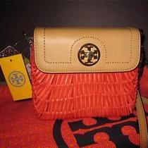 Tory Burch Lacquered Rattan Wicker Mini Shoulder Bag Strap Flame Red Nwt 350 Photo