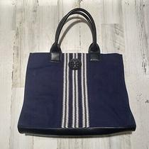 Tory Burch Large Navy Tote Handbag Purse Canvas Expandable Photo
