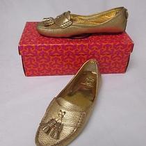 Tory Burch Lawrence Metallic Gold Tumbled Leather Loafers Flats Sz 7m Nib 275 Photo