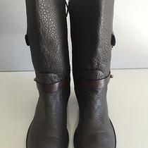 Tory Burch Leather Mid-Calf Leona Boots Gray Dark Elephant Size 6 M Retail 495 Photo