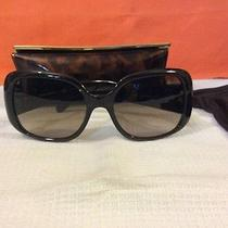 Tory Burch Leather- Tab Oversized Square Ladies Brown Sunglasses Ty9006q Photo