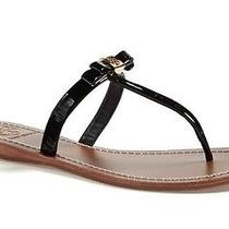 Tory Burch Leighanne Bow Thong Sandal Gold Logo Size 8.5m Photo
