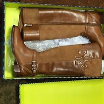Tory Burch Lizzie Leather and Suede Riding Boot Bark Size 6 New in Box  Photo