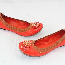 Tory Burch Logo Patent Leather Caroline Ballet Flats Exclusive Orange Elastic 8m Photo
