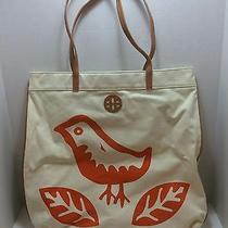 Tory Burch Lorenzo Bird Printed Flat Canvas Tote Bag Hibiscus  New Rare Photo
