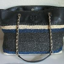 Tory Burchmarionblack/navy/cream Large Slouchy Tote Gold Chain W/dust Bag Photo