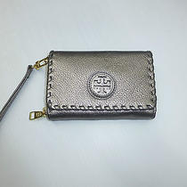 Tory Burch Marion Gunmetal Leather Logo Iphone Case Wallet Clutch  Photo