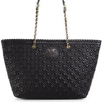 Tory Burch Marion Quilted Leather Tote Bag Purse Black 535 Dustbag Photo