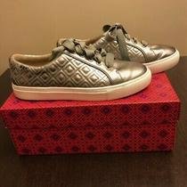 Tory Burch Marion Quilted Metallic Lace Up Sneaker Metallic Grey Gunmetal Size 8 Photo