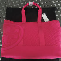 Tory Burch Marion Quilted Nylon Beach Tote Bag Nwt Island Pink Photo