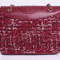 Tory Burch Marion Tweed Medium Fleming Shoulder Handbag Purse in Red Agate Photo