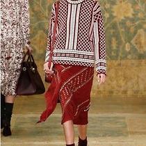 Tory Burch Maroon Balmain Like Graphic Sweater Xs Fall 2015 Great Condition Photo