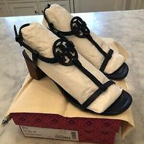 Tory Burch Miller 55mm Navy Leather Block Heel Logo Sandals 268 9m Euc Photo