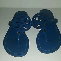 Tory Burch Miller Patent Leather Blue Logo Thong Sandals Size 6.5 New Photo