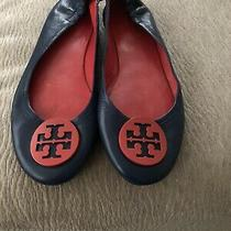 Tory Burch Minnie Ballet Flats - Navy Blue With Red  Medallion - Size 9.5 Photo