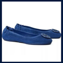 Tory Burch Minnie Travel Ballet Flat Bermuda Blue Suede Leather Sz 6 Nib 228 Photo