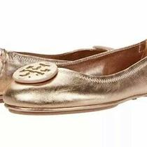 Tory Burch Minnie Travel Logo Ballet Flat Rose Gold Metallic Leather Sz 8 Photo