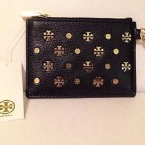 Tory Burch Mix Stud Card Case With Key Ring Black/gold Sold Out Free Shipping Photo
