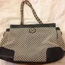 Tory Burch Navy and Cream Tote With Chain Handles Photo