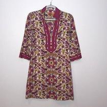 Tory Burch Navy Blue Floral Boho Pink Print 100% Cotton Tunic Dress Size 2 Photo