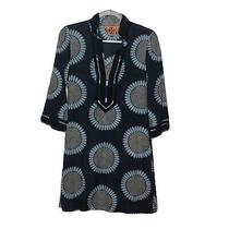 Tory Burch Navy Blue Floral Sunflower Print 100% Cotton Tunic Dress Size 2 Photo