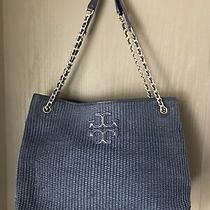 Tory Burch Navy Blue Thea Straw Shoulder Tote Bag Photo