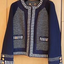 Tory Burch Navy Blue White Knit Detail Round Neck Blazer Jacket 8 Uk Photo