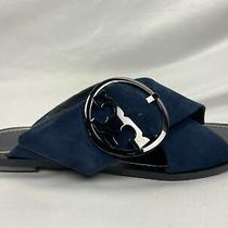Tory Burch Navy Box in and Dust Bag Slide Lancaster Suede Sandals Flats Photo
