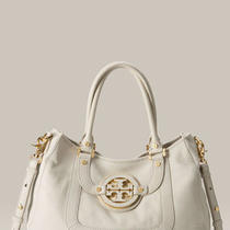 Tory Burch New Amanda Classic Handle Hobo White Leather Bag Photo