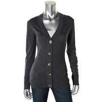 Tory Burch New Gray Merino Wool Long Sleeves v-Neck Cardigan Sweater S Bhfo Photo