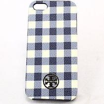 Tory Burch New Robinson Navy Blue Gingham Print Iphone 5/5s Case Hard Cover 60- Photo