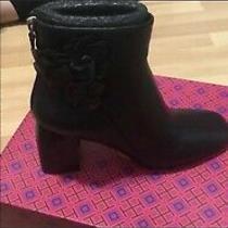 Tory Burch Nib Port Black Calf Leather Blossom Booties 70mm Block Heel Sz 8 Photo