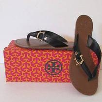 Tory Burch Nora Black Logo Leather Thong 10 New Sandal Flat Shoe Gold Flip Flop Photo
