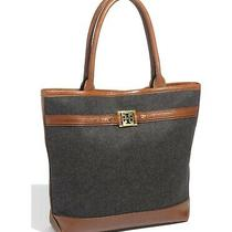 Tory Burch Nordstrom Exclusive Anniversary Charcoal Flannel Tote Photo