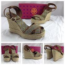 Tory Burch Nwb Sexy Brown Open Toe Ankle Strap Espadrille Wedge Heels 10 B 295 Photo