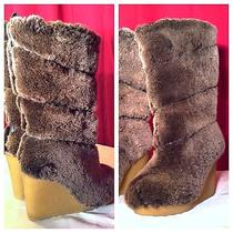 Tory Burch Nwb Sexy Kiki Wedge Shearling Knee High Fur Apres Ski Boot Sz 5m 595 Photo
